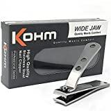 Kohm CP-140L Nail Clippers for Thick Nails, Wide Jaw, Curved Blade - Sharp, Heavy Duty, Large Stainless Steel Toenail Clippers for Thick Toenails for Men, Seniors, Adults with Built-In Nail File