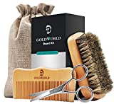 GoldWorld Beard Grooming Kit for Men Care Beard Growth Gifts Set w/Boar Bristle Brush + Wood Comb + Beard Trimmer Scissors + Cotton Bag for Styling Growth & Maintenance (Beard Growth Kit)