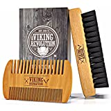 BEST DEAL Beard Comb & Beard Brush Set for Men - Natural Boar Bristle Brush and Dual Action Pear Wood Comb w/Velvet Travel Pouch - Great for Grooming Beards and Mustache by Viking Revolution