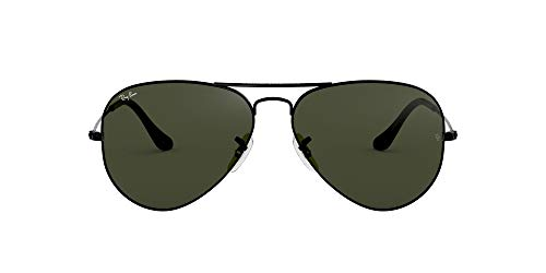 Ray-Ban RB3025 Aviator Sunglasses, Black/Green, 58...