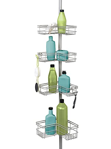 Zenna Home 2159NN Tension Pole Shower Caddy, Satin...