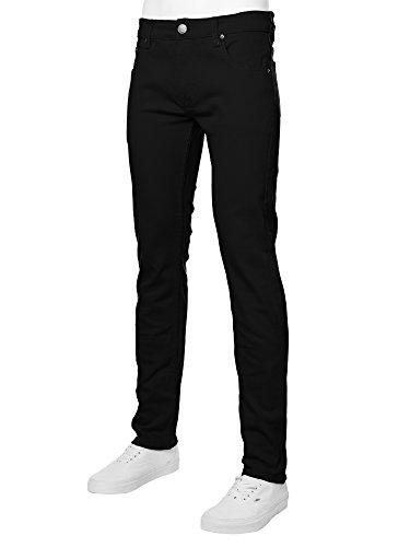 URBAN K Men's Skinny Fit Jeans,Black,30W x 32L