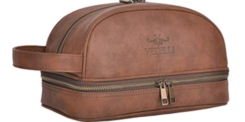 Vetelli Leather Toiletry Bag For Men. Our Dopp Kit...