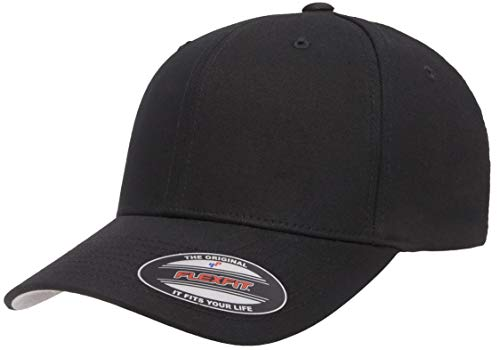 Flexfit Men's Cotton Twill Fitted Cap, Black,...