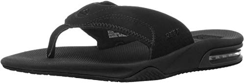 Reef Men's Fanning Flip Flop, ALL BLACK, 14...