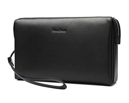 BISON DENIM Mens Clutch Bag Genuine Leather Clutch...
