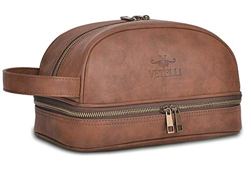 Vetelli Leather Toiletry Bag For Men (Dopp Kit)...