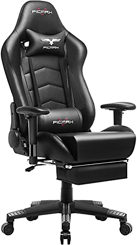 Ficmax Gaming Chair with Footrest Ergonomic PU...