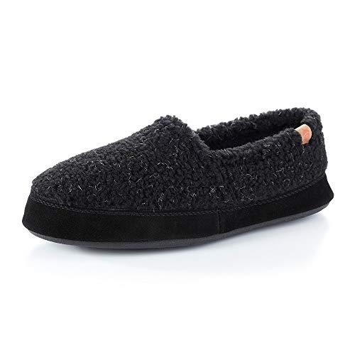 Acorn Men's Moc Slippers, Black Berber, 7.5-8.5