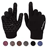 Achiou Touchscreen Knit Gloves Winter Warm for Women Men Wool Lined Texting (Black)