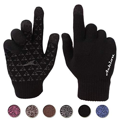 Achiou Touchscreen Knit Gloves Winter Warm for...