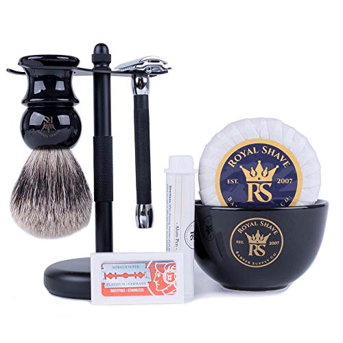 RoyalShave Black & Chrome Shaving Set - Stylish...