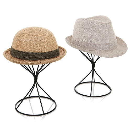 MyGift Modern Metal Hat Stands, Tabletop...