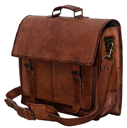PL 18 Inch Vintage Handmade Leather Messenger Bag...