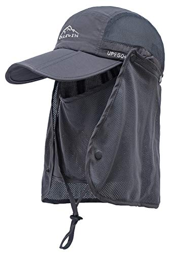 ELLEWIN Outdoor Fishing Flap Hat UPF50 Sun Cap...