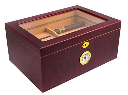 Mantello Cigar Humidor - Large Glass-Top...