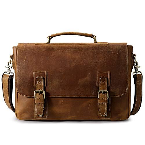 S-ZONE Men's Crazy Horse Leather Satchel Briefcase...