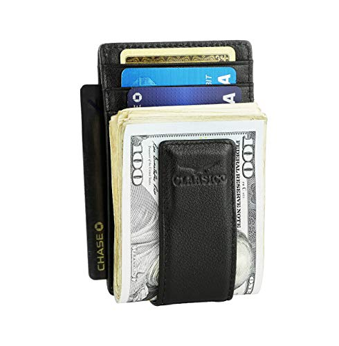 Money Clip Leather Wallet For Men Slim Front...