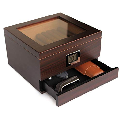 Glass Top Handcrafted Cedar Humidor with Front...