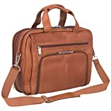 Kenneth Cole Reaction Colombian Leather Dual Compartment Expandable 15.6' Laptop Portfolio, Cognac