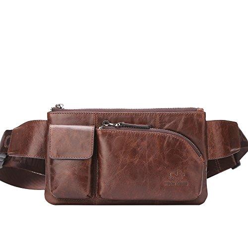BISON DENIM Leather Waist Pack Fanny Pack Hip...