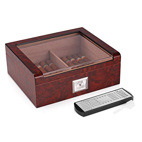 Woodronic Handmade Glass Top Cigar Set Humidor...