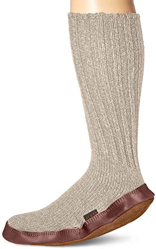 Acorn Unisex Slipper Sock, Light Grey Ragg Wool,...