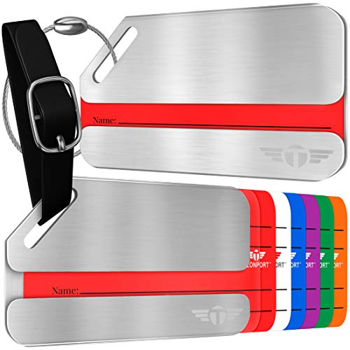 Two Privacy Luggage Tags Stainless Steel Metal ID...