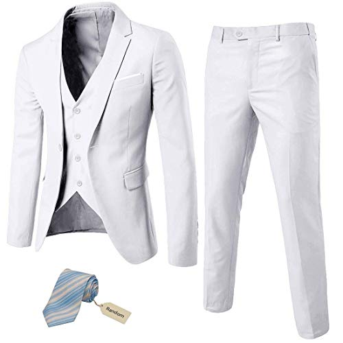 MYS Men?s 3 Piece Slim Fit Suit Set, One B...