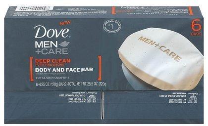 Dove Men+Care Body and Face Bar Deep Clean 4 oz, 6...