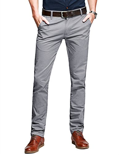 Match Mens Slim-Tapered Flat-Front Casual...