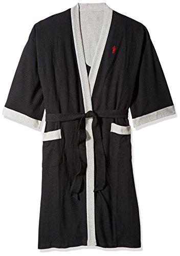 Jockey Men's Waffle Weave Kimono Robe, Charcoal...
