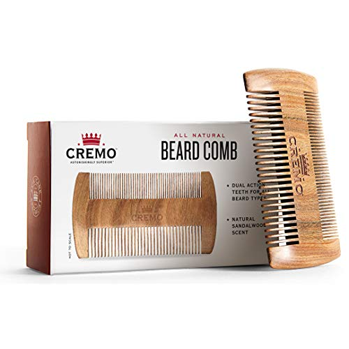 Cremo 100% Sandalwood Dual-Sided Beard Comb,...