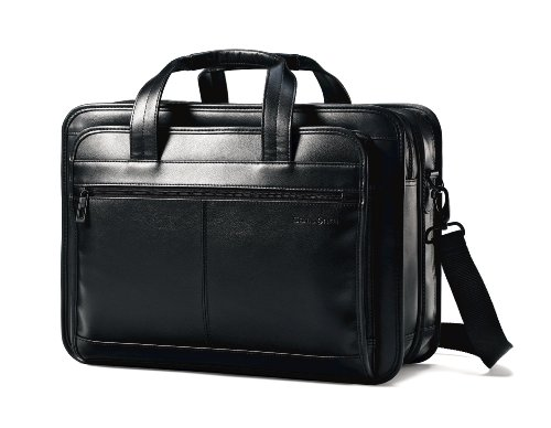 Samsonite Leather Expandable Briefcase, Black, One...