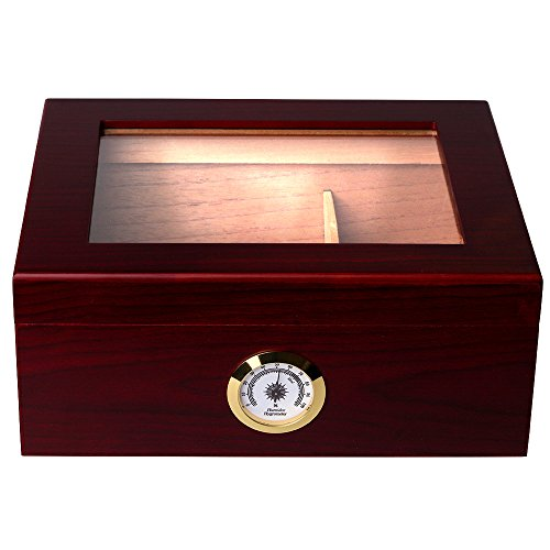 Mantello Royale Glass-Top Cigar Humidor Humidifier...