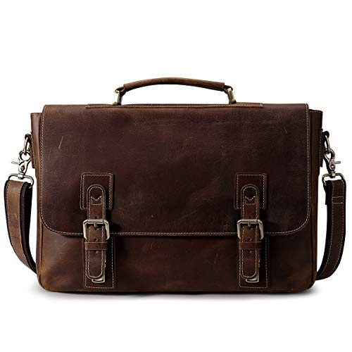 S-ZONE Men's Crazy Horse Leather Satchel Briefcase...