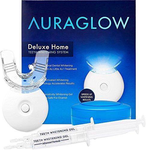 AuraGlow Teeth Whitening Kit, LED Light, 35%...
