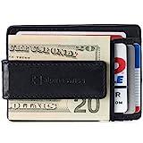 Alpine Swiss RFID Harper Money Clip Front Pocket Wallet For Men Leather York Collection Soft Nappa Black