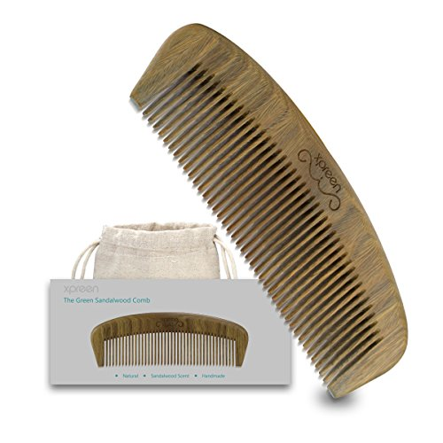 Xpreen Beard and Hair Comb, Handmade Green Sandal...