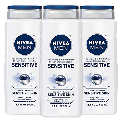 NIVEA Men Sensitive 3-in-1 Body Wash 16.9 Fluid...