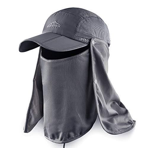 ELLEWIN Outdoor Fishing Flap Hat UPF50 Sun Cap...