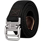 Drizzte 43'' Long Belt Double D Ring Mens Canvas Cloth Web Belts Black