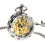 SIBOSUN Steampunk Transparent Open Face Pocket Watch for Men Women Silver Skeleton Dial with Chain + Box