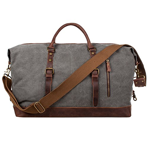 S-ZONE Oversized Leather Canvas Duffel Shoulder...