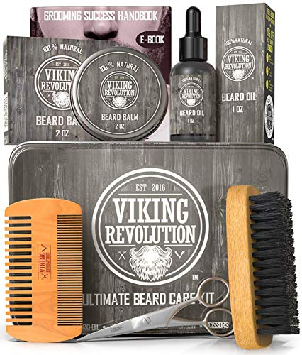 Viking Revolution Beard Care Kit for Men -...