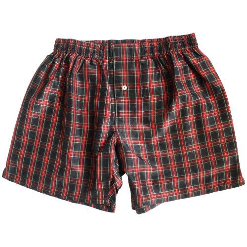 Crimson Noir Checks Silk Boxers - Size XXL -...