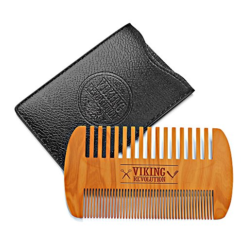 Wooden Beard Comb & Case, Dual Action Fine &...