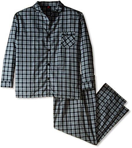 Hanes Men's Woven Plain Weave Pajama Set, Black,...