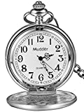Mudder Classic Smooth Vintage Steel Mens Pocket Watch Xmas (Silver)