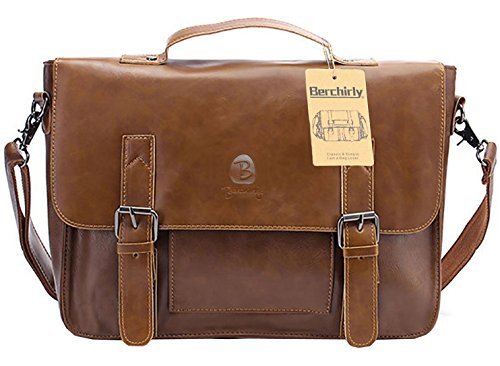 PU Leather Briefcase, Berchirly Vintage Office...